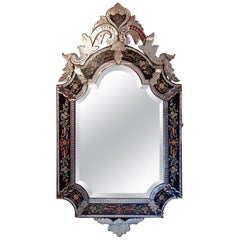 1880-1900 Venetian Mirror N3 with Pediment, Blue Glass Adorned with Flowers