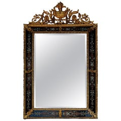 1880-1900 Venetian and Gilded Bronze Mirror with Pediment, Black Color Glass