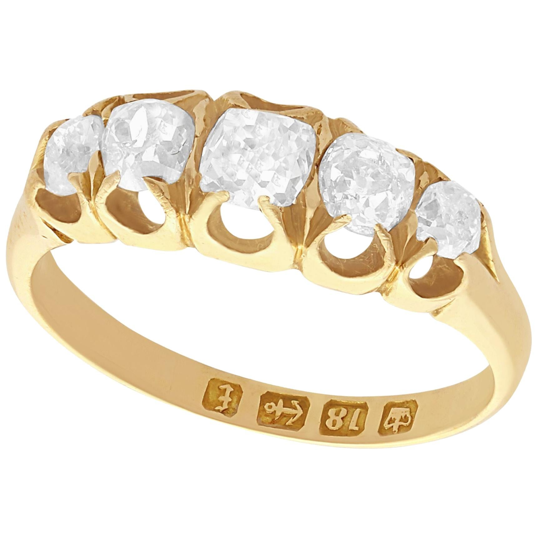 1880 Antique Diamond and Yellow Gold Five-Stone Ring