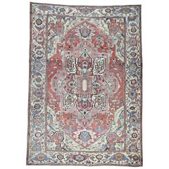 1880 Antique Hand Knotted Persian Serapi Rug Red/Ivory