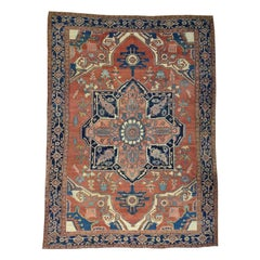 1880 Antique Persian Serapi Rug Even Wear, Classical Rust Navy