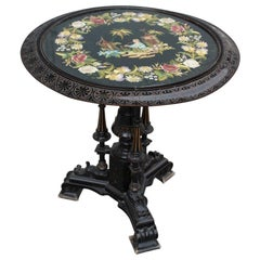 1880 Black Round Victorian Table Coffee with Top in Fabric Embroidered Oriental