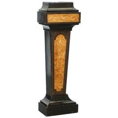 1880 Burr Walnut Marquetry Inlaid Pedestal Marble Bronze Bust Jardinière Stand