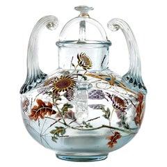 "1880 Emile Gallé, Vase Perfume Burn ""Flight of a Lepidoptera among Gaillardes"""