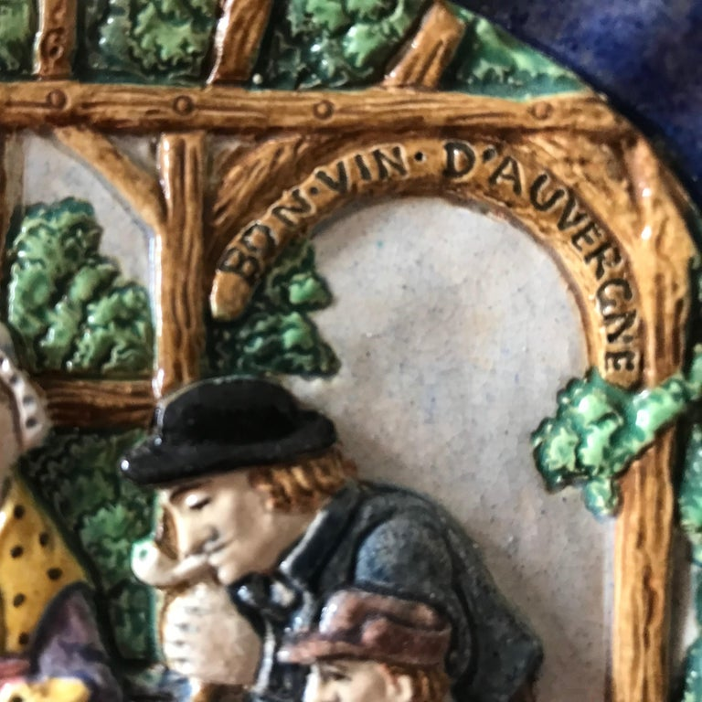 1880 French Country Pair of Navy Blue Edged Folk Art Majolica Decorative Plates For Sale 7