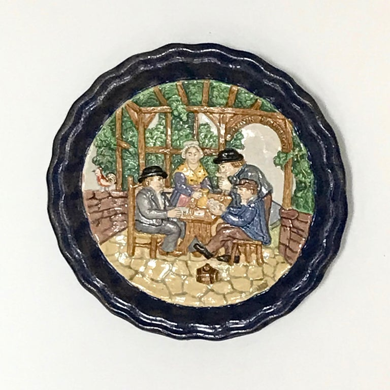 1880 French Country Pair of Navy Blue Edged Folk Art Majolica Decorative Plates For Sale 15