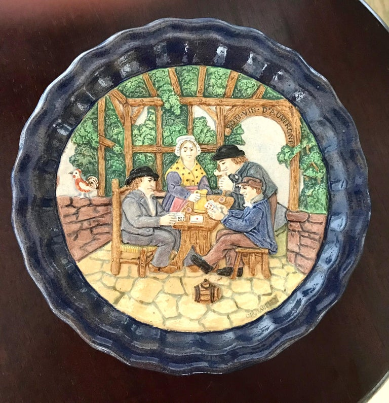 Hand-Painted 1880 French Country Pair of Navy Blue Edged Folk Art Majolica Decorative Plates For Sale