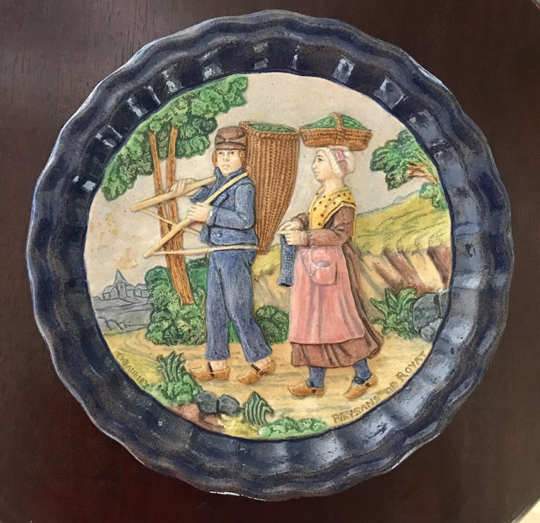 19th Century 1880 French Country Pair of Navy Blue Edged Folk Art Majolica Decorative Plates For Sale