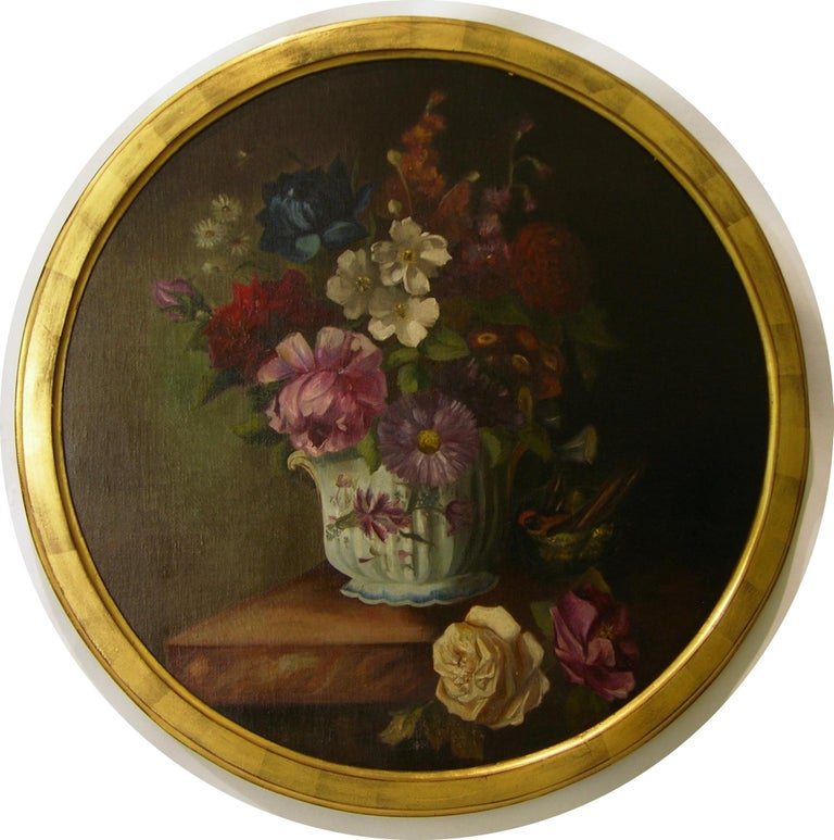 Dated on reverse 1880, these very decorative round paintings, oil on canvas, were executed by the French noble Marie Pauline Mathilde Duplat de Monticourt Comtesse de Chaponay (1855-1888) married in 1878 to Jean Humbert Comte de Chaponay. Initialed