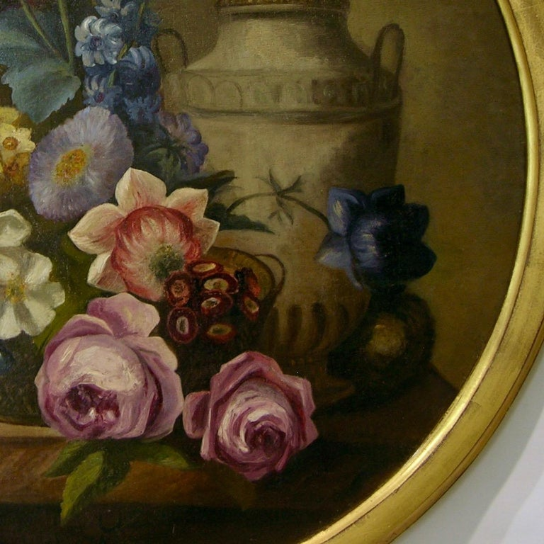 Wood 1880 French Provincial Pair of Round Still Life Oil Paintings in Gilt Frames For Sale