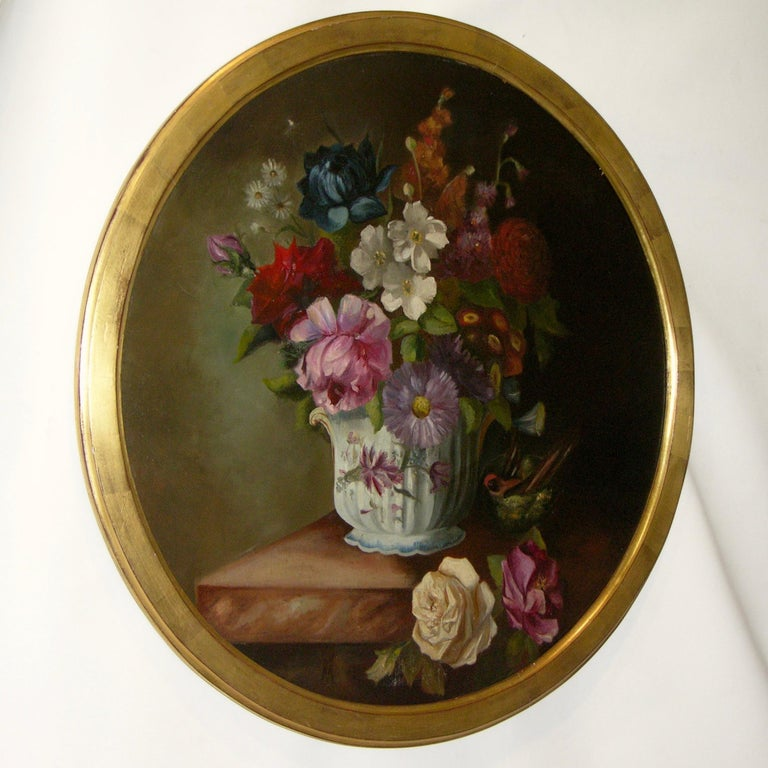 1880 French Provincial Pair of Round Still Life Oil Paintings in Gilt Frames For Sale 3