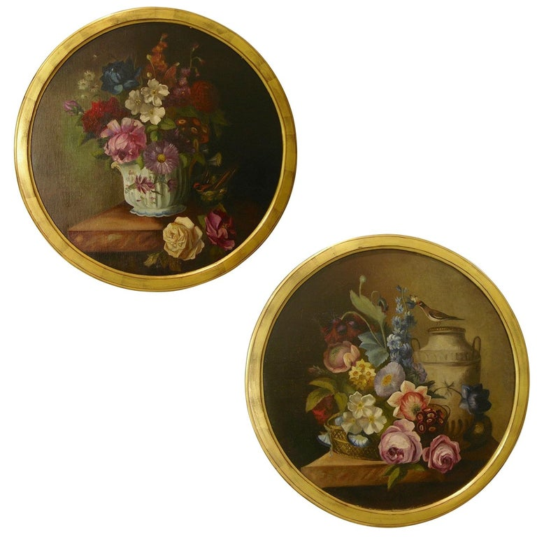1880 French Provincial Pair of Round Still Life Oil Paintings in Gilt Frames For Sale