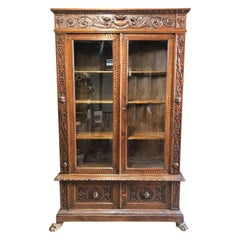 1880 Italian Tuscany Showcase Bookcase Hand-Carved Walnut Natural Color