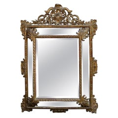 1880 Mirror Parecloses Mercury With Shell Gilted With Sheet of Gold 169x127 cm