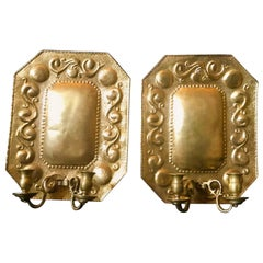 1880 Pair of Dutch Sconces, Repousse Brass Two-Light Wall Blaker