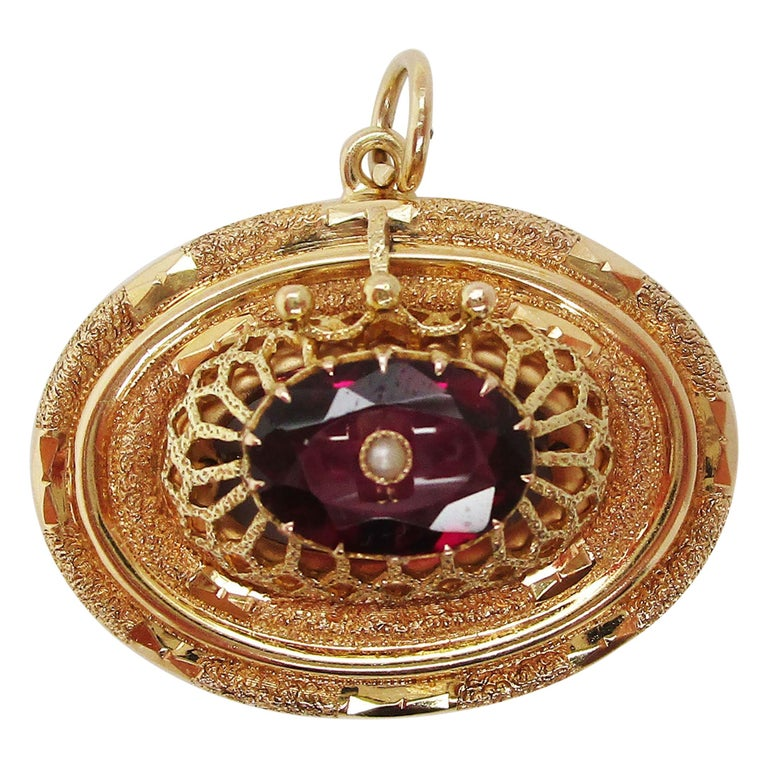 1880 Victorian 14 Karat Yellow Gold Red Garnet and Pearl Pendant For Sale