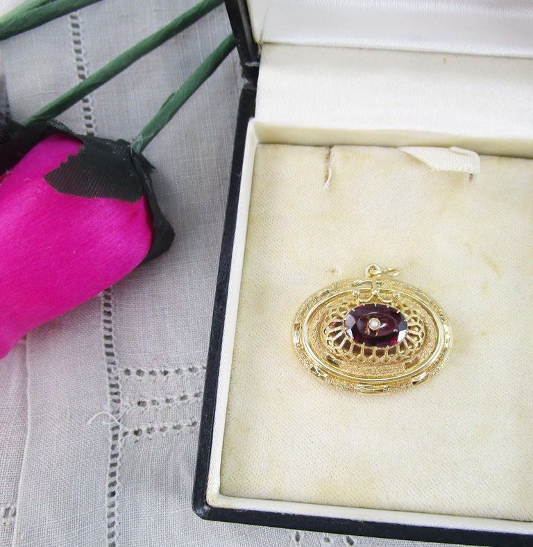 Women's 1880 Victorian 14 Karat Yellow Gold Red Garnet and Pearl Pendant For Sale