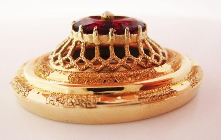 1880 Victorian 14 Karat Yellow Gold Red Garnet and Pearl Pendant For Sale 1