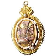 1880 Victorian Gold Filled Seed Pearl Dove Locket