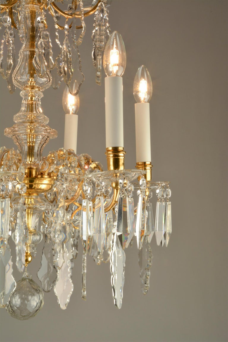 Neoclassical Revival 1880ies Lobmeyr Six-Arm Polished Antique Gold Chandelier with Hand-Cut Crystal For Sale