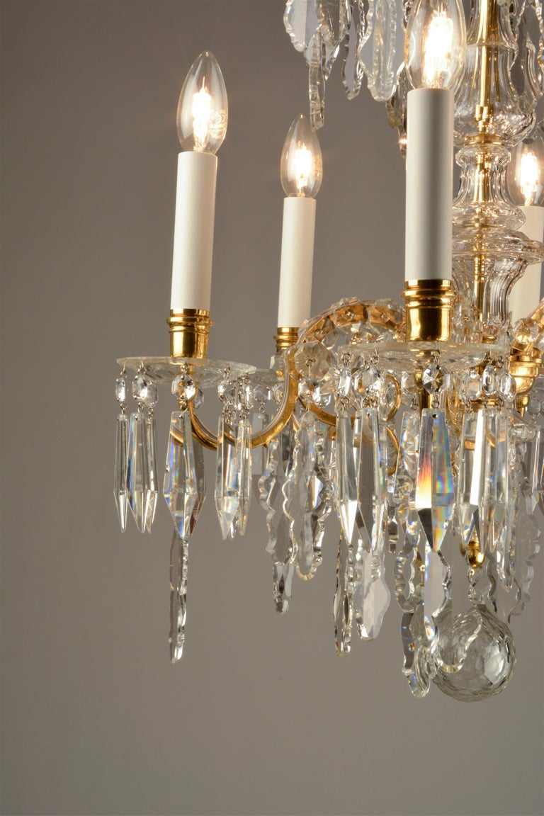 Austrian 1880ies Lobmeyr Six-Arm Polished Antique Gold Chandelier with Hand-Cut Crystal For Sale