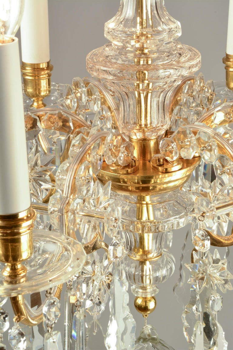 1880ies Lobmeyr Six-Arm Polished Antique Gold Chandelier with Hand-Cut Crystal In Excellent Condition For Sale In Vienna, AT