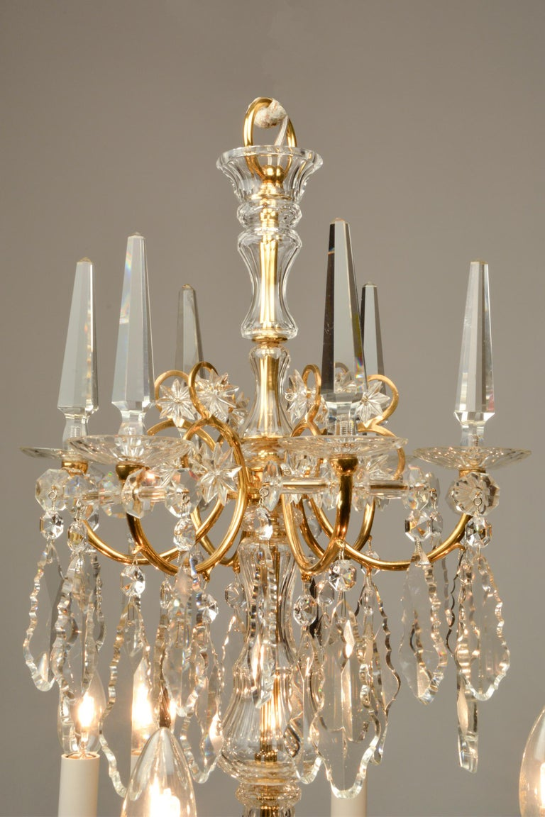 19th Century 1880ies Lobmeyr Six-Arm Polished Antique Gold Chandelier with Hand-Cut Crystal For Sale