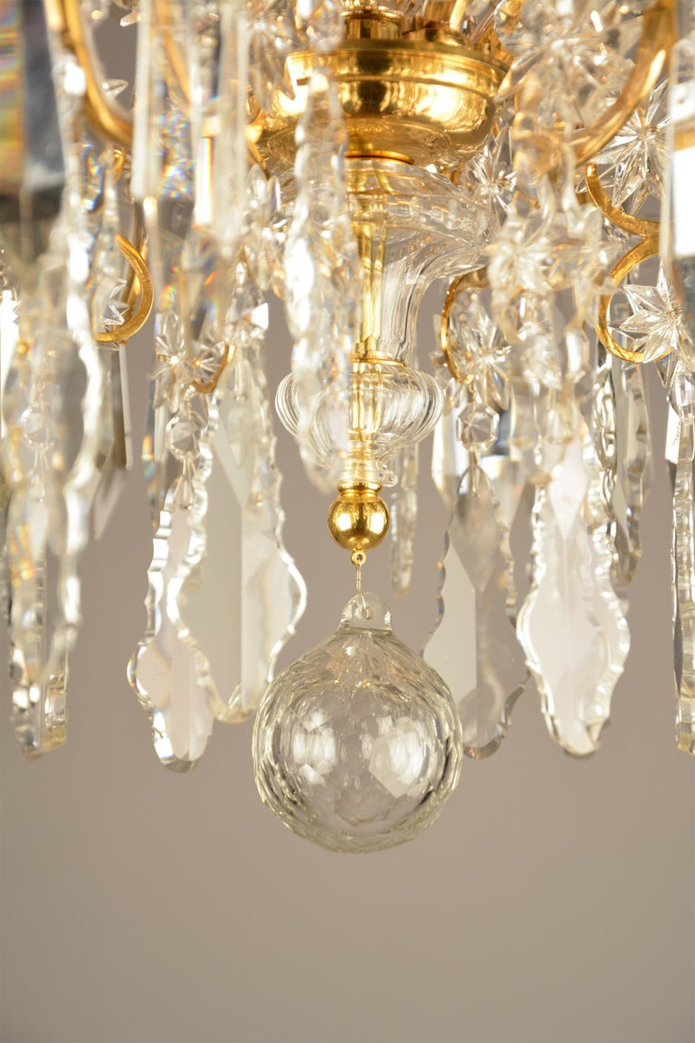 Brass 1880ies Lobmeyr Six-Arm Polished Antique Gold Chandelier with Hand-Cut Crystal For Sale