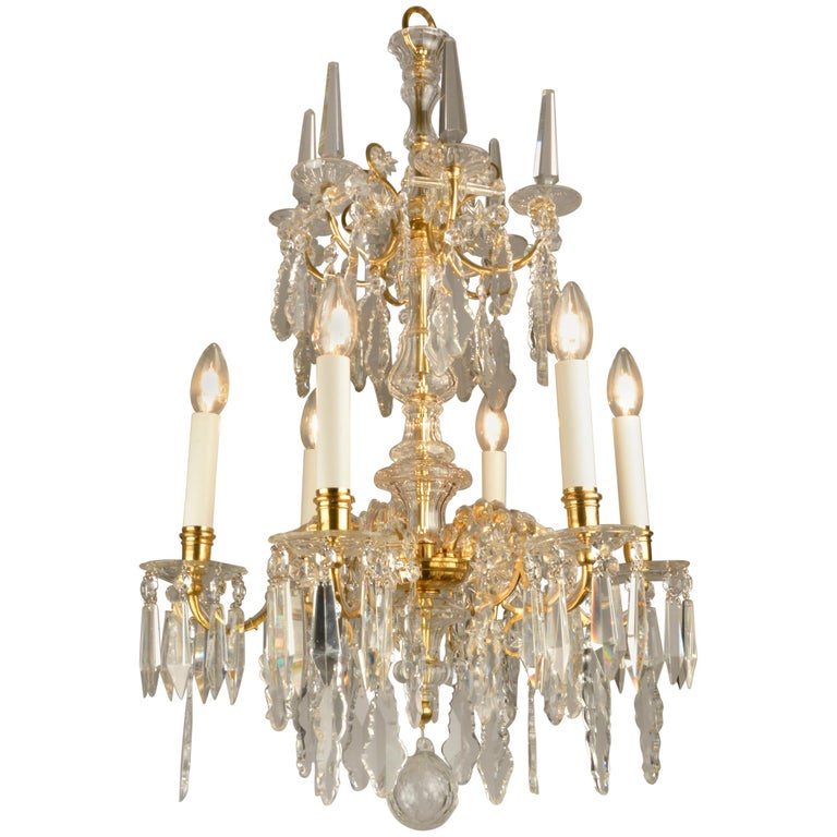 1880ies Lobmeyr Six-Arm Polished Antique Gold Chandelier with Hand-Cut Crystal For Sale