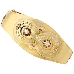 1880s Antique Austrian Diamond and Yellow Gold Bangle