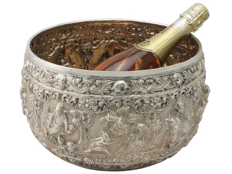 1880s Antique Burmese Silver Thabeik Bowl For Sale 6