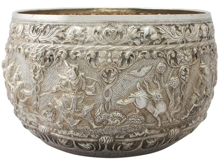 Southeast Asian 1880s Antique Burmese Silver Thabeik Bowl For Sale