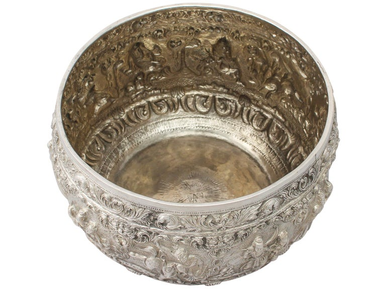 Late 19th Century 1880s Antique Burmese Silver Thabeik Bowl For Sale