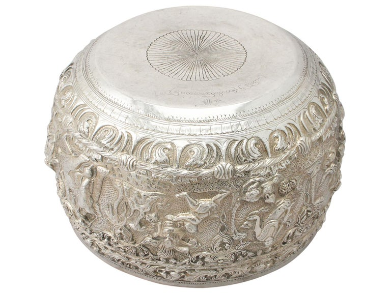 1880s Antique Burmese Silver Thabeik Bowl For Sale 1