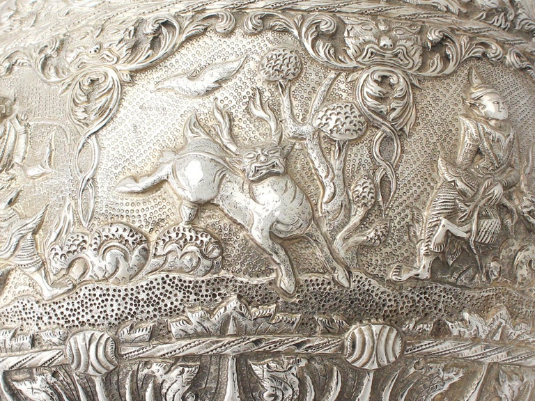 1880s Antique Burmese Silver Thabeik Bowl For Sale 4