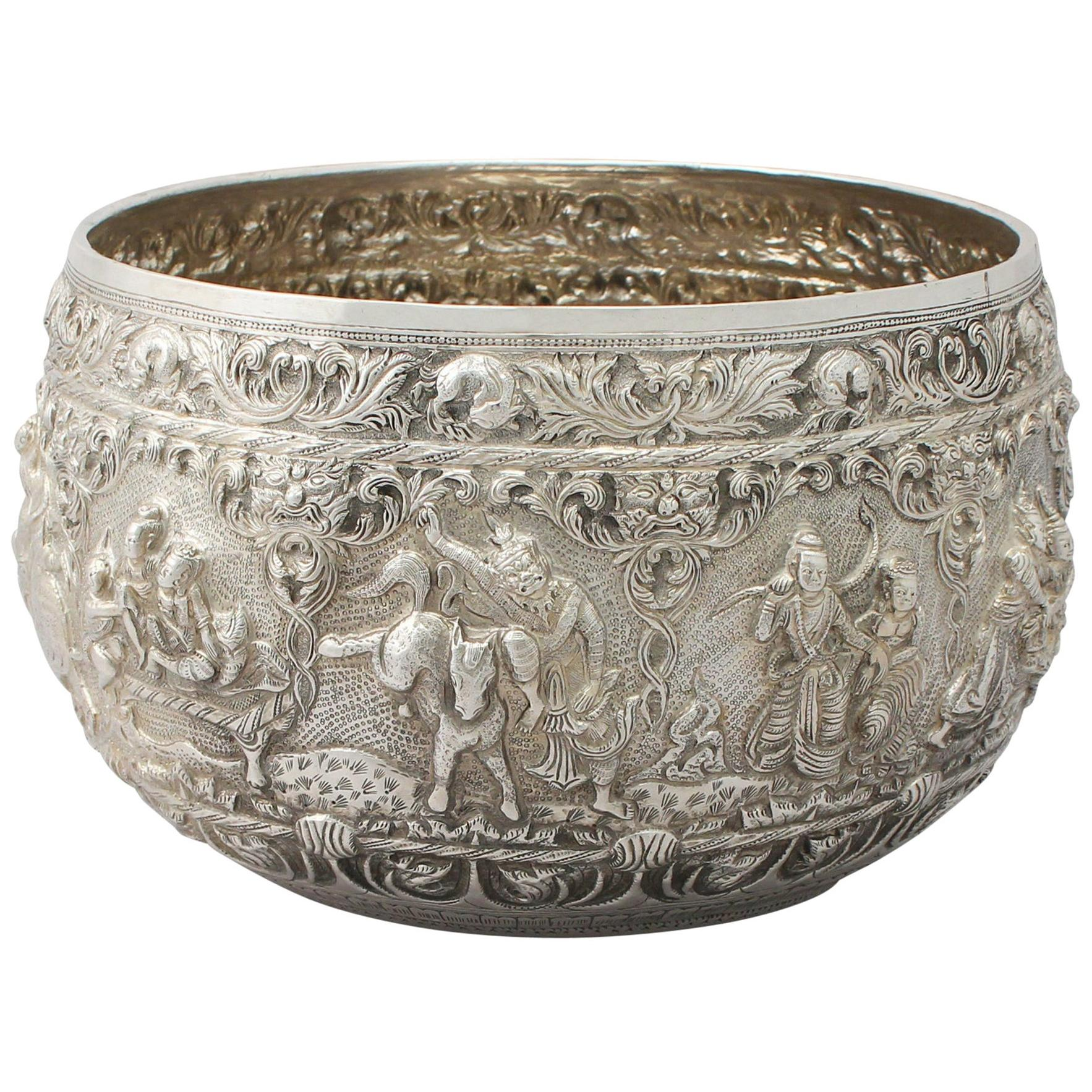1880s Antique Burmese Silver Thabeik Bowl