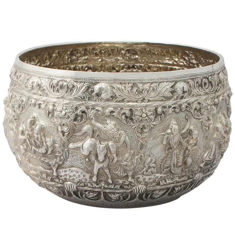 1880s Antique Burmese Silver Thabeik Bowl For Sale