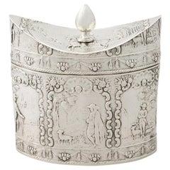 1880s Antique Dutch Silver Tea Caddy