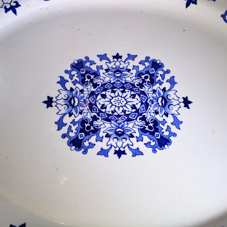 1880s Antique English Blue and White Platter In Good Condition For Sale In Pataskala, OH