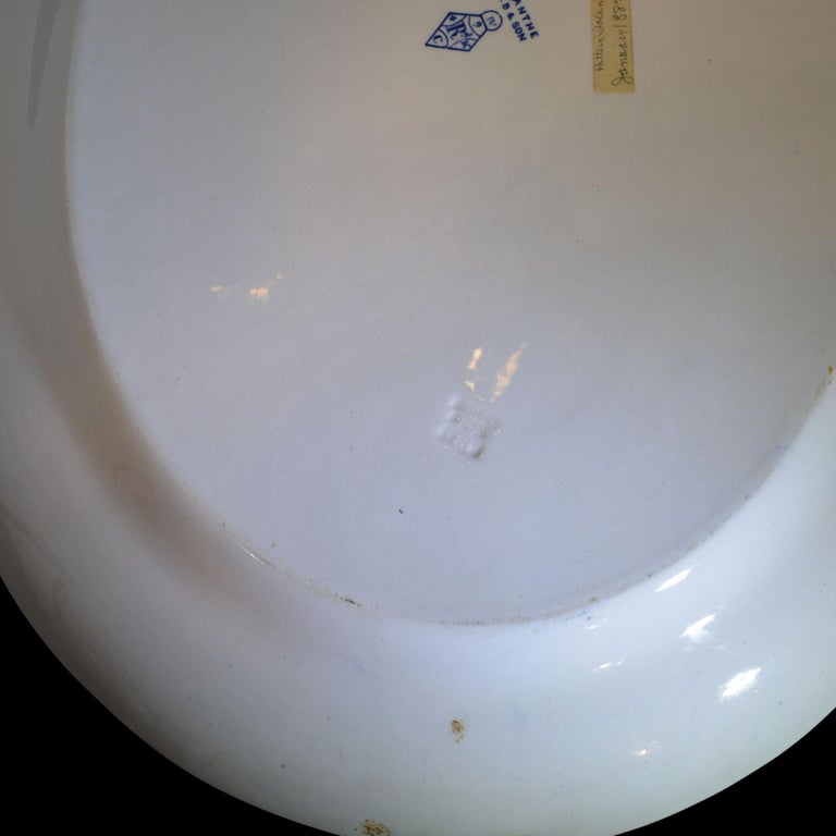 Porcelain 1880s Antique English Blue and White Platter For Sale