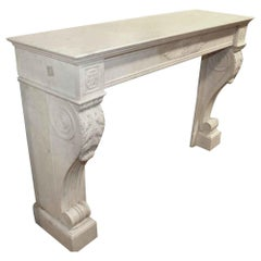 1880s Antique French Empire Style Marble Mantel, Slightly Large and Grey White
