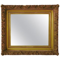 1880s Antique Gold Framed Mirror with Carved Wood and Gesso