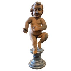 1880s Antique Hand-Carved Wood Italian Figure of a Child