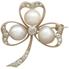 1880s Antique Pearl and 1.05 Carat Diamond Yellow Gold Clover Brooch