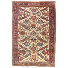 1880s Antique Persian Ziegler Mahal Sultanabad Rug, Palace Size Persian Rug