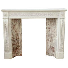 1880s Antique Petite Victorian White Carrara Marble Mantel, Hand Carved Details