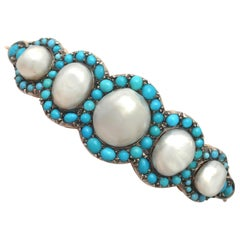 1880s Antique Victorian Natural Pearl and Turquoise Gold Bangle