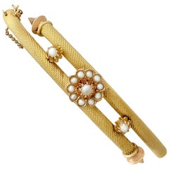 1880s Antique Victorian Pearl Yellow Gold Bangle