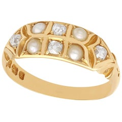 1880s Antique Victorian Seed Pearl and Diamond Yellow Gold Cocktail Ring