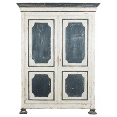 1880s Belgian Black and White Patinated Armoire